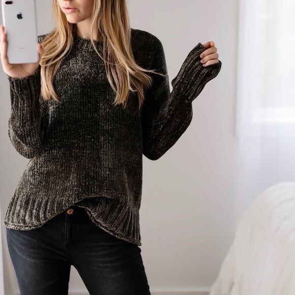 11thstreet Sweaters - [11thstreet] Olive Chenille Soft Sweater
